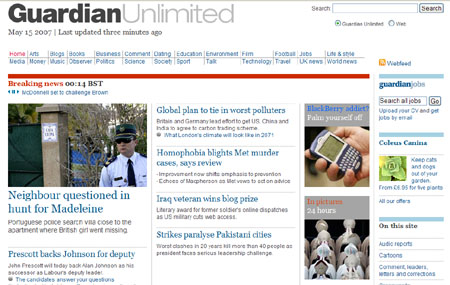 The Guardian Unlimited front page