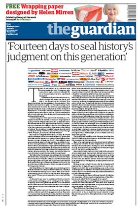 2009-12-07.Guardian front page editorial on climate change
